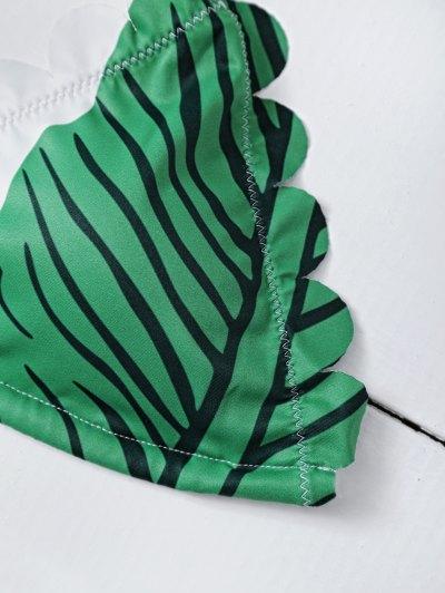 Halter Scalloped Printed Bikini - GREEN S Mobile