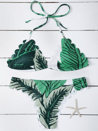 Halter Scalloped Printed Bikini - GREEN XL Mobile