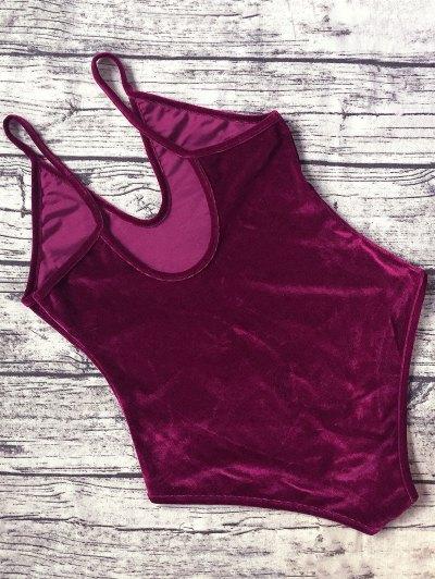 Plunging Neck Slip Velvet Bodysuit - WINE RED S Mobile