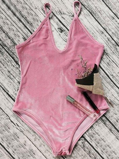 Plunging Neck Slip Velvet Bodysuit - PINK M Mobile