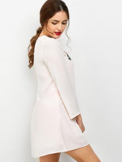 Long Sleeve Chiffon Tunic Dress - LIGHT PINK M Mobile