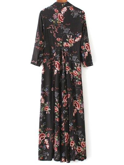 Maxi Floral Print Shirt Dress - BLACK L Mobile