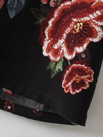 Maxi Floral Print Shirt Dress - BLACK S Mobile