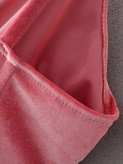 Slip Velvet Wrap Midi Dress - DEEP PURPLE L Mobile