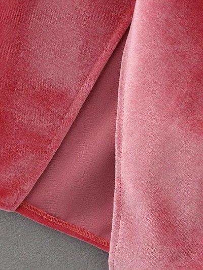 Slip Velvet Wrap Midi Dress - DEEP PURPLE M Mobile