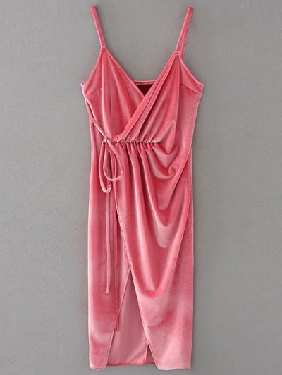 Slip Velvet Wrap Midi Dress - PAPAYA M Mobile
