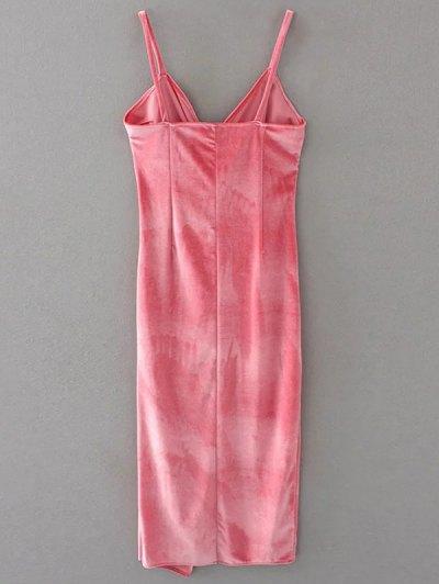 Slip Velvet Wrap Midi Dress - PAPAYA S Mobile
