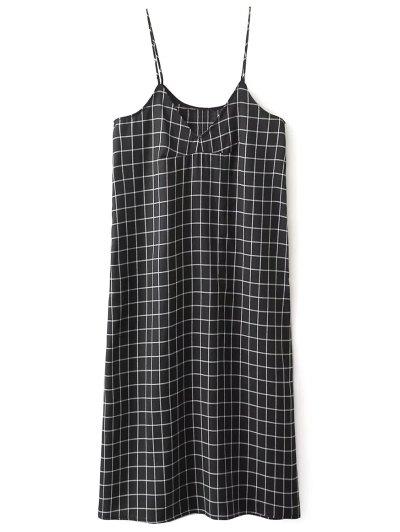 Shift V Neck Slip Plaid Dress - BLACK L Mobile