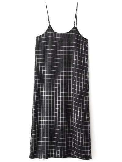 Shift V Neck Slip Plaid Dress - BLACK S Mobile