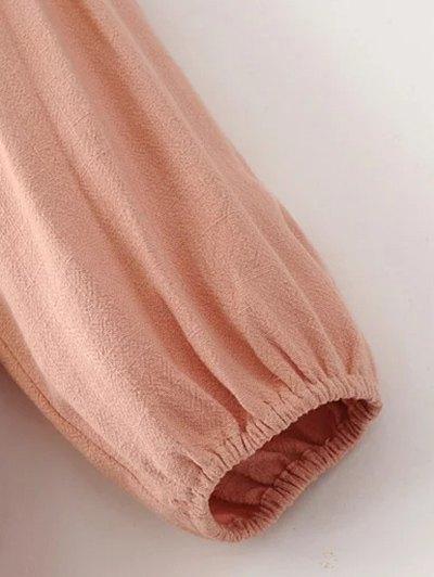 Ruffle Puff Long Sleeve A Line Dress - PINKBEIGE L Mobile