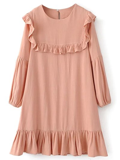 Ruffle Puff Long Sleeve A Line Dress - PINKBEIGE M Mobile