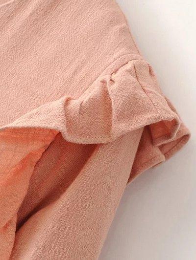 Ruffle Puff Long Sleeve A Line Dress - PINKBEIGE S Mobile