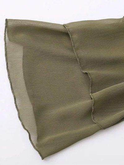 Bell Sleeve Ruffle Chiffon Mini Dress - ARMY GREEN L Mobile