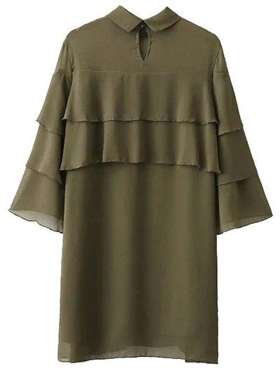 Bell Sleeve Ruffle Chiffon Mini Dress - ARMY GREEN M Mobile