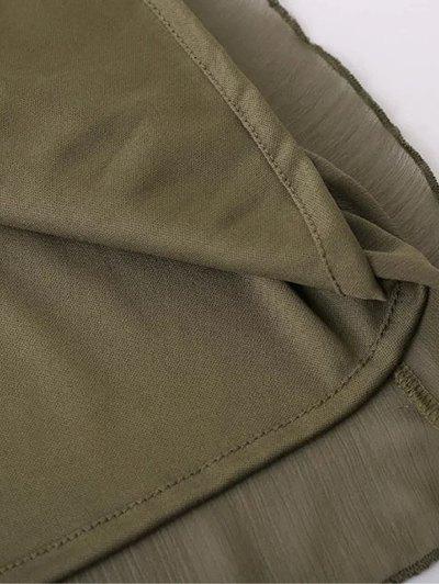 Bell Sleeve Ruffle Chiffon Mini Dress - ARMY GREEN S Mobile