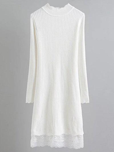 Lace Trim Ribbed Jumper Dress - WHITE ONE SIZE Mobile