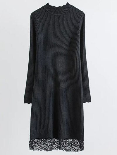 Lace Trim Ribbed Jumper Dress - BLACK ONE SIZE Mobile