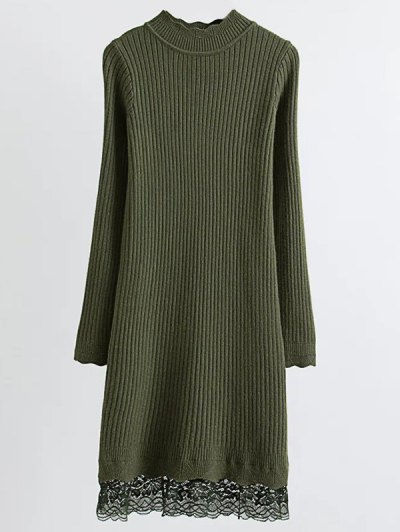 Lace Trim Ribbed Jumper Dress - ARMY GREEN ONE SIZE Mobile
