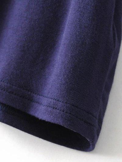 V Neck Choker Strap Tee - PURPLISH BLUE L Mobile