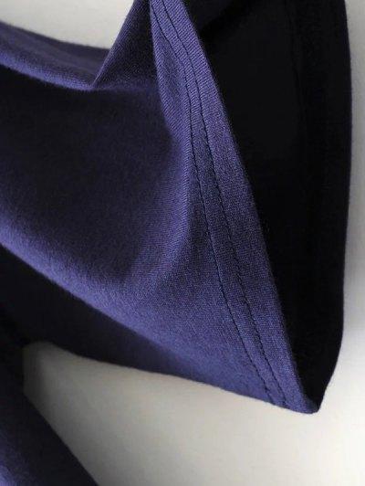 V Neck Choker Strap Tee - PURPLISH BLUE M Mobile