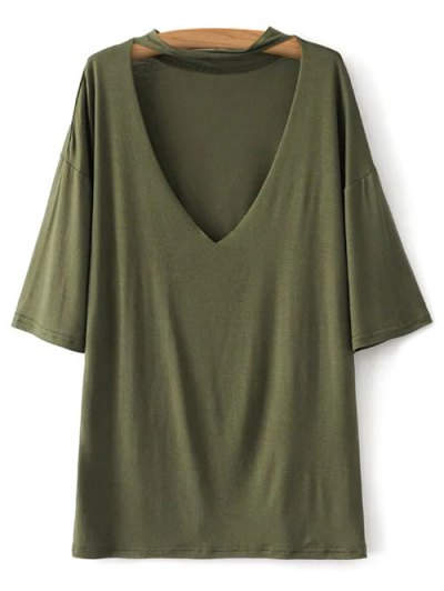 V Neck Choker Strap Tee - ARMY GREEN S Mobile