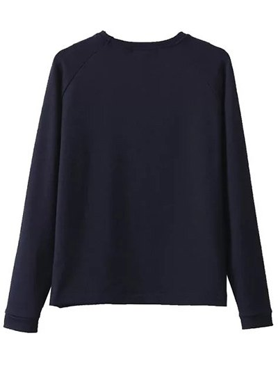 Floral Applique Pullover Sweatshirt - CADETBLUE L Mobile