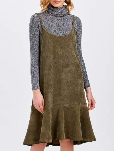Ruffles Slip Corduroy Dress - DARK KHAKI XL Mobile