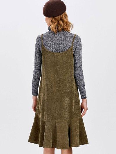 Ruffles Slip Corduroy Dress - DARK KHAKI M Mobile