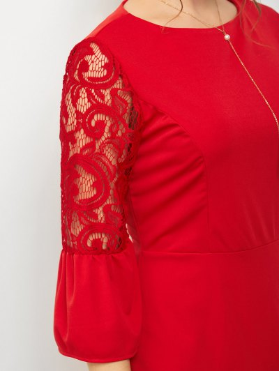 Lace Panel Flare Sleeve Mini Dress - RED L Mobile