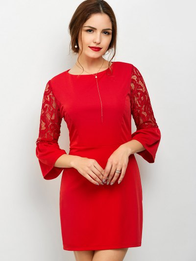 Lace Panel Flare Sleeve Party Wear Dress For Women - RED S Mobile