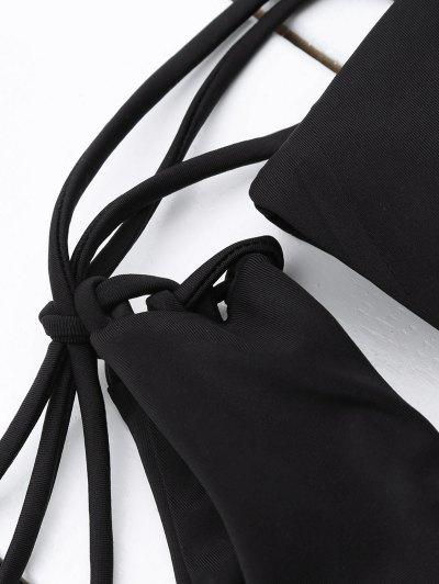 Tasselled Halter Bikini Set - BLACK S Mobile