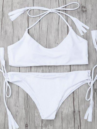Tasselled Halter Bikini Set - WHITE M Mobile