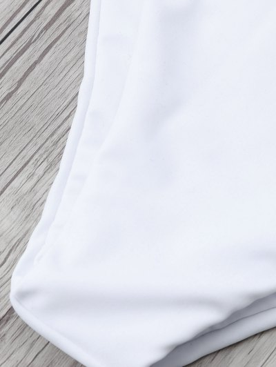Tasselled Halter Bikini Set - WHITE S Mobile
