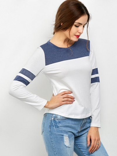 Color Block Space Dyed T-Shirt - WHITE 2XL Mobile