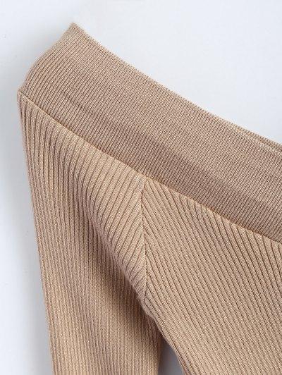 Bare Shoulder V Neck Rib Sweater - KHAKI ONE SIZE Mobile