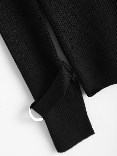 Bare Shoulder V Neck Rib Sweater - BLACK ONE SIZE Mobile