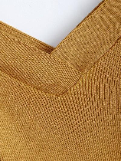 Bare Shoulder V Neck Rib Sweater - EARTHY ONE SIZE Mobile
