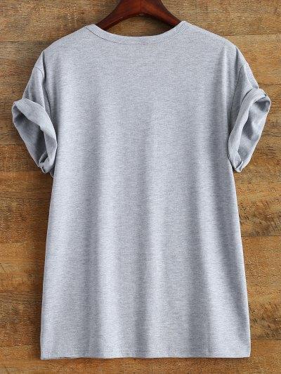 Short Sleeve Text Print Tee - GRAY 3XL Mobile