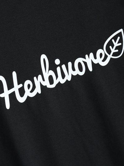 Short Sleeve Herbiuone Boyfriend T-Shirt - BLACK 3XL Mobile