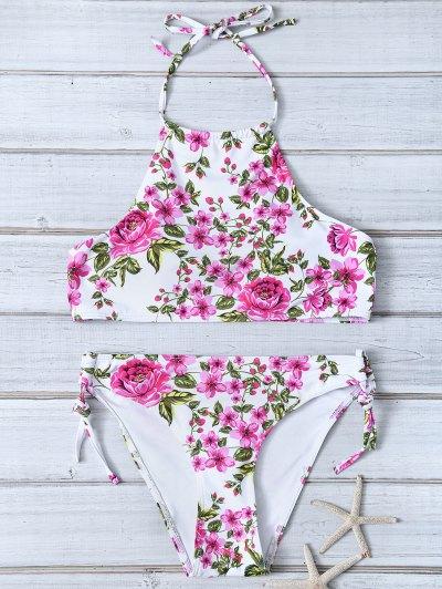 Tiny Floral Halter Bikini Set - Floral