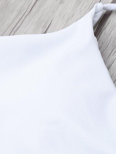 Tasselled Halter Bikini Set - WHITE XL Mobile