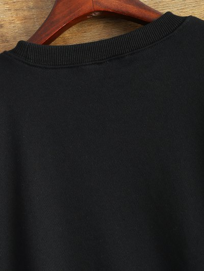 Letter Dirty Hippie Print Sweatshirt - BLACK M Mobile