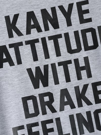 Roll Sleeve Text Print Tee - GRAY 3XL Mobile