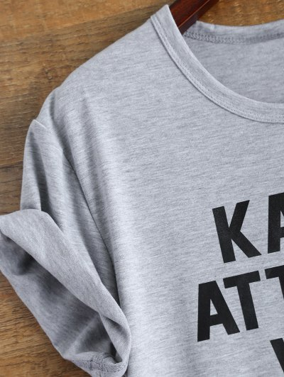 Roll Sleeve Text Print Tee - GRAY M Mobile