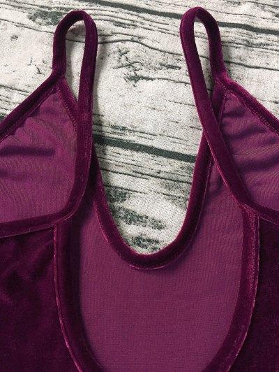 Plunging Neck Slip Velvet Bodysuit - WINE RED XL Mobile
