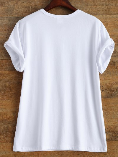 Short Sleeve Text Print Tee - WHITE S Mobile