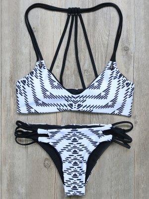 Geometric Print Strappy Back Bikini - White And Black