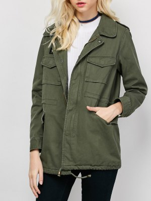 Star Patched Utility Jacket - Army Green