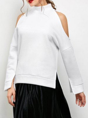 Cold Shoulder High Neck Sweatshirt - White