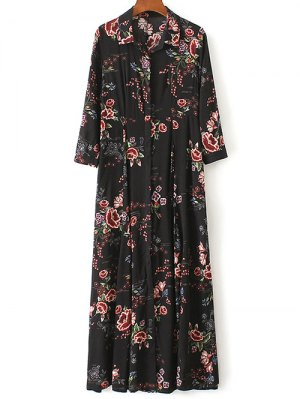 Maxi Floral Print Shirt Dress - Black